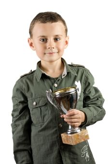 Free Smiling Champion With His Trophy Royalty Free Stock Photo - 7718865