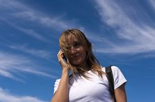Free Talking On A Cellphone Stock Photography - 7719402