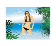 Woman In Bikini In Sea Stock Photo