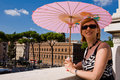 Free Lovely Woman With Pink Sunshade In Rome Royalty Free Stock Images - 7728279
