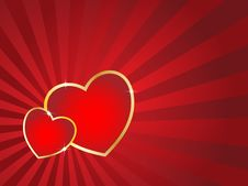 Free Two Hearts And Retro Background. Stock Image - 7720581