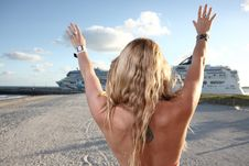 Free Woman Waving Towards A Ship Stock Image - 7721571