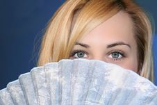 Blonde With Fan Stock Images