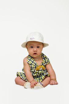 Free Baby Girl With Nice Dress Stock Image - 7722621