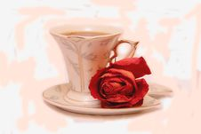 Free Cup And Rose Stock Photography - 7723172