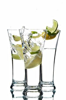 Free Glasses With Water And Lime Stock Photography - 7725322