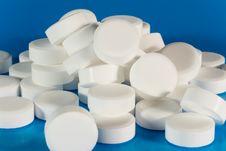 Closeup Of A Pile Of White Pills Stock Photos