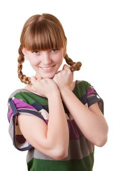 Free Young Smiling Girl With Plaits Stock Photos - 7727183