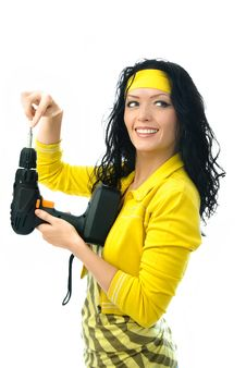 Free Cheerful Woman With A Drill Royalty Free Stock Photo - 7727855