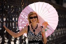 Free Lovely Woman With Pink Sunshade In Rome Town Royalty Free Stock Photo - 7728275