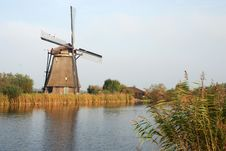 Free Dutch Windmill By Canal Stock Image - 7728521