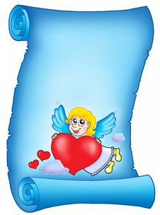 Free Valentine Blue Letter With Flying Cupid Royalty Free Stock Images - 7728659