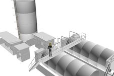 Heavy Industry Site With Engineer Supervising Royalty Free Stock Photo