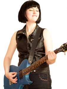 Young Woman Plays On A Electric Guitar Stock Images