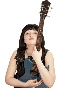 Free Young Woman With Electric Guitar Royalty Free Stock Photos - 7729118