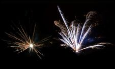 Two Beautiful Flashes Of Fireworks. Stock Photo