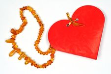 Free Valentine Day  Gift Amber Necklace Royalty Free Stock Photography - 7729177