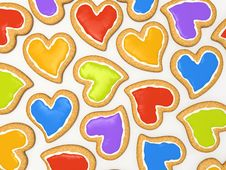 Free Multicoloured Heart Cookies Stock Photos - 7729243