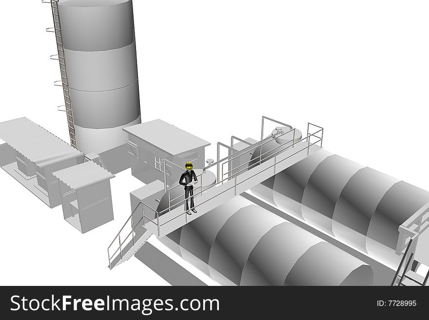 Heavy industry site with engineer supervising