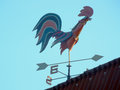 Free Weathervane On Roof House To Determine Wind Direction In Form Cock Stock Image - 77238081