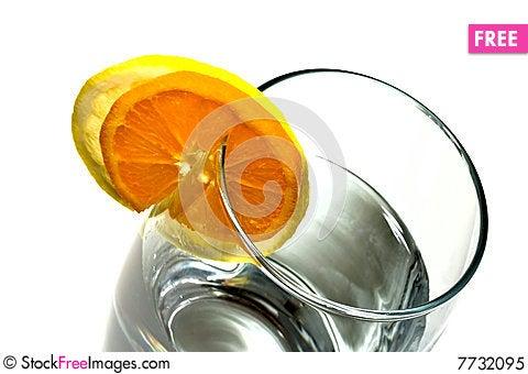 Glass and lemon Stock Photo