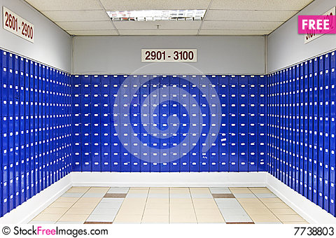 Free Room Of Blue Post Office Boxes Stock Photos - 7738803