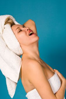Expressive Portrait Of Lovely Woman In White Towel Royalty Free Stock Photography