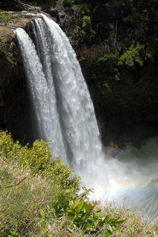 Hawaiian Waterfall With Rainbow Royalty Free Stock Image