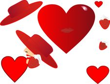 Free Hearts,hats And Strawberries Royalty Free Stock Image - 7732576