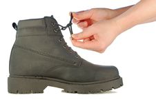 Free Tie Shoe-laces On Rough Boot Stock Image - 7732951