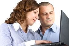 Business Woman And Man Working Together Stock Photo