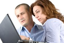 Business Woman And Man Working Together Stock Photos