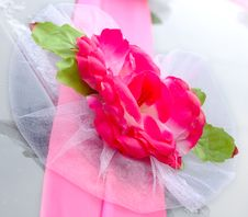 Free Wedding Decoration On Black Limousine Car. Stock Image - 7734181