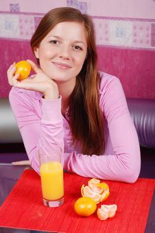 Free Woman With Glass Of Juice Royalty Free Stock Image - 7734186