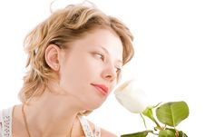 Free Portrait Of Attractive Blond Girl Smelling Rose Stock Image - 7734331