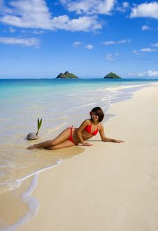 A Beautiful Polynesian Girl In  Bikini Royalty Free Stock Photo