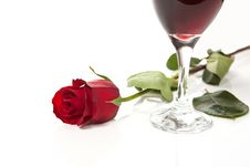 Free Red Rose On White Background With Glass Of Wine Stock Images - 7735304