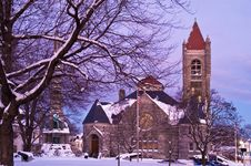 Church In A Winter Evening Royalty Free Stock Photo