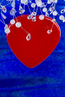 Free Red Heart On Blue Background Stock Photo - 7736170