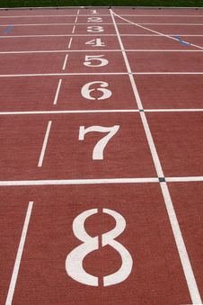 Numbered Starting Lanes On Running Track. Royalty Free Stock Photo