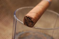 Free Cuban Cigar On Glass With Whiskey Stock Images - 7736694