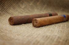 Free Two Cuban Cigars On Hessian Canvas Stock Image - 7736701