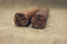 Free Two Cuban Cigar On Hessian Canvas Stock Photo - 7736710