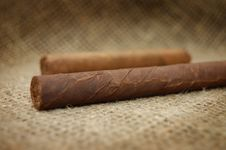 Free Two Cuban Cigars On Hessian Canvas Stock Photos - 7736723