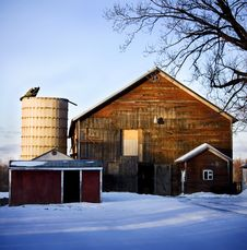 Free Old Barn In Winter Royalty Free Stock Photos - 7736858