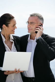 Free Business People Working Outside Royalty Free Stock Photo - 7736935
