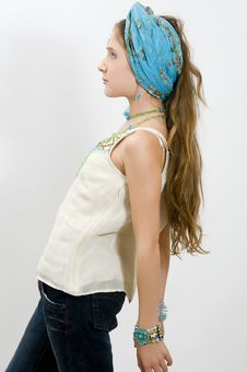 Fashion Girl Posing With Blue Scarf In Hair Royalty Free Stock Photos