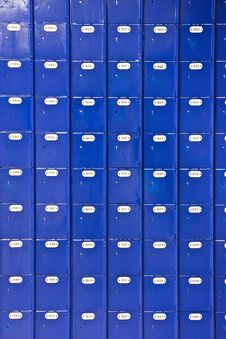 Free Wall Of Blue Post Office Boxes Royalty Free Stock Image - 7737086