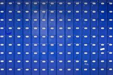 Long Wall Of Blue Post Office Boxes