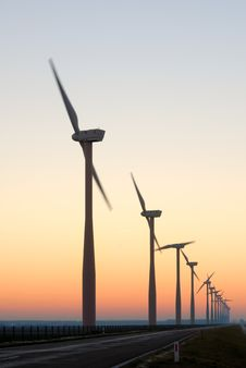 Free Windmill Silhouettes At Dawn Stock Images - 7738374